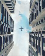 Plane flying between buildings